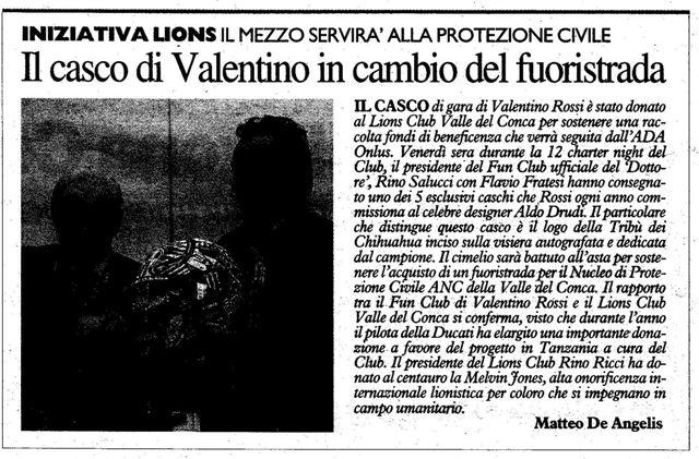 Il Casco di Valentino Rossi per la Protezione Civile